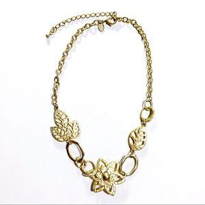 Lia Sophia Gold Tone Floral Necklace